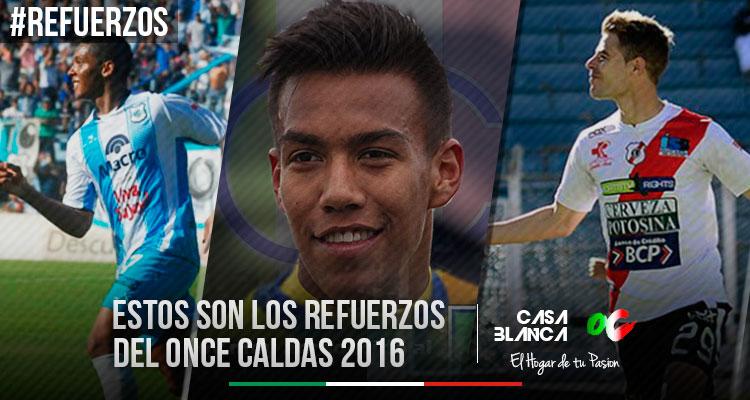 Refuerzos-Once-Caldas-2016-Crstian-florez-Cristian-Alesandrini-Luis-Peralta-Dany-Cure